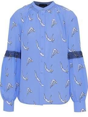 Markus Lupfer Diver Kimi Shirred Printed Silk Crepe De Chine Shirt