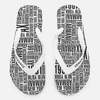 095e28929e70d4 Armani Exchange Men s Flip Flops - Typography White