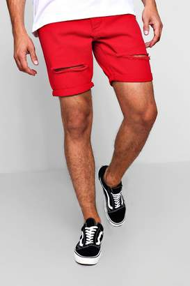 boohoo Slim Fit Distressed Red Denim Shorts
