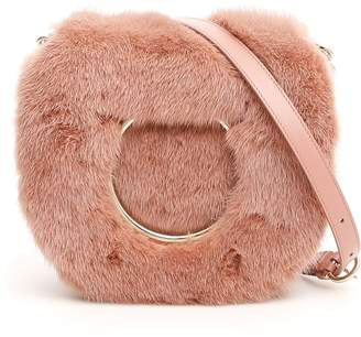 Salvatore Ferragamo Bag With Mink Fur And Maxi Gancio
