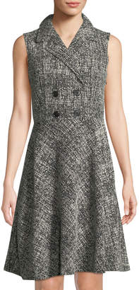 Donna Karan Sleeveless Double-Breasted Tweed Shirtdress