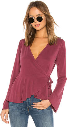 Bobi Sueded Jersey Wrap Blouse