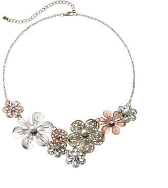 Mudd Four Tone Simulated Crystal & Simulated Pearl Filigree Flower Bib Statement Necklace