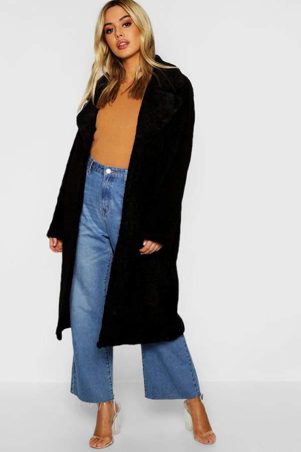 Petite Longline Teddy Faux Fur Coat