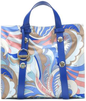 Emilio Pucci Large leather-trimmed twill tote