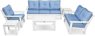 Polywood Vineyard 6-Pc Deep Lounge Set - Air Blue Sunbrella