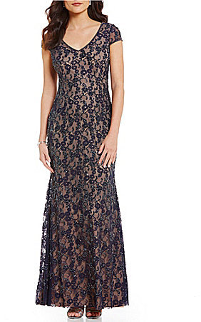 Adrianna Papell Adrianna Papell Short Sleeve Beaded Long Gown