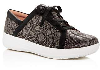FitFlop Women's F-Sporty II Python-Embossed Leather Platform Lace Up Sneakers