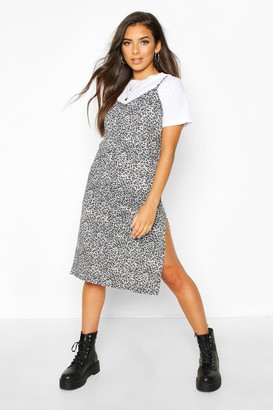 boohoo Leopard Print Jersey Slip Midi Dress