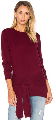 Autumn Cashmere Tie Front Sweater in Burgundy $319 thestylecure.com