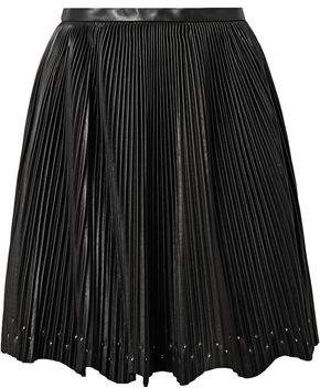 Elie Saab Studded Plisse-leather Mini Skirt