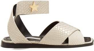 Stella McCartney Cross-strap python-effect sandals