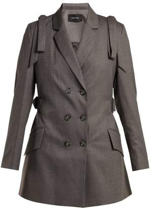 Simone Rocha Bow Embellished Double Breasted Blazer - Womens - Dark Grey