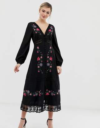 Asos DESIGN embroidered maxi dress with lace inserts