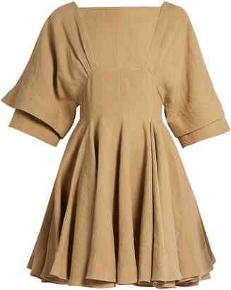 Square-neck linen dress
