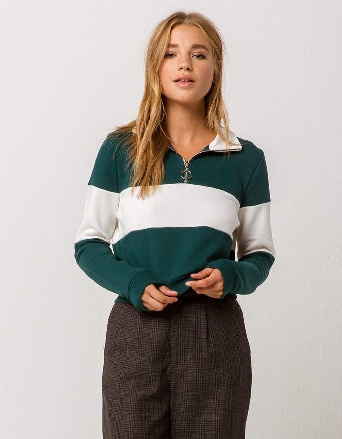 Full Tilt Color Block Half Zip Womens Crop Sweatshirt