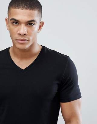 Esprit organic muscle fit v neck t-shirt in black