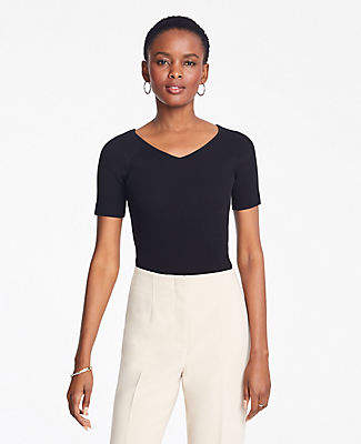 Ann Taylor Petite Ribbed V-Neck Short Sleeve Sweater