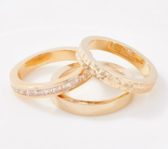 Gold One 1KT Gold Set of 3 Stackable Band Ring