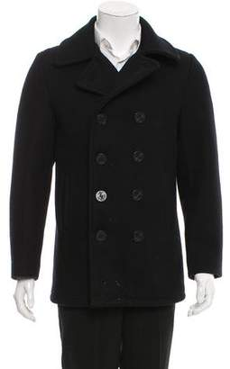 Schott NYC Wool Double-Breasted Peacoat