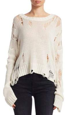 R 13 Shredded Side Slit Sweater