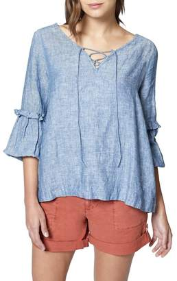 Sanctuary Lila Lace-Up Ruffle Sleeve Blouse (Regular & Petite)