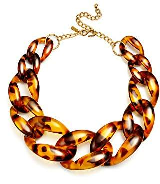 Kenneth Jay Lane Chain Necklace Tortoiseshell Chunky Resin Chain Jewelry Costume Tortoise Shell Graduated Links 16""