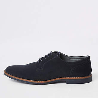 River Island Navy faux suede lace-up derby shoes