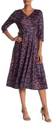 Tina Printed Front Tie Midi Dress