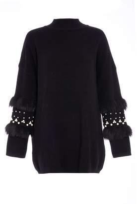 Quiz Black Knit Faux Fur Pearl Detail Jumper