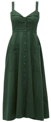 Saloni Fara Cotton Blend Midi Dress - Womens - Dark Green