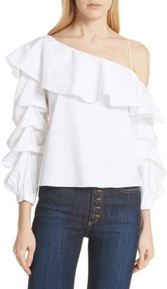 Alice + Olivia Irvine Ruffle One-Shoulder Blouse