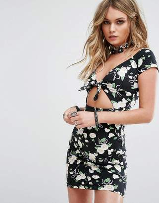 Motel Bodycon Dress In Floral With Tie Front & Cut Out