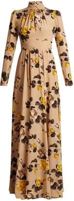 Rochas Rose-print silk crepe de Chine gown