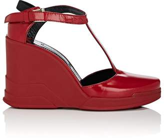 Prada WOMEN'S SPAZZOLATO LEATHER WEDGE MARY JANES