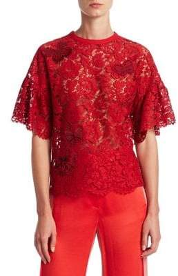 Valentino Butterfly Embroidery Lace Top