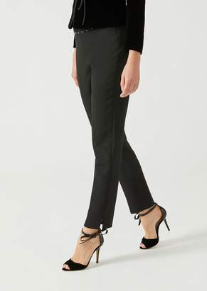 Emporio Armani Technical Stretch Cady Trousers With Decorative Studs