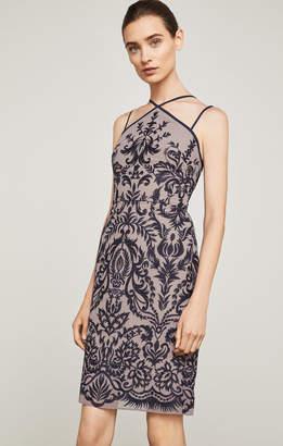 BCBGMAXAZRIA Embroidered Halter Dress