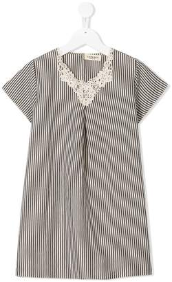 Essence Kids striped crochet-detail dress
