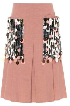 Bottega Veneta Embellished silk and cotton skirt