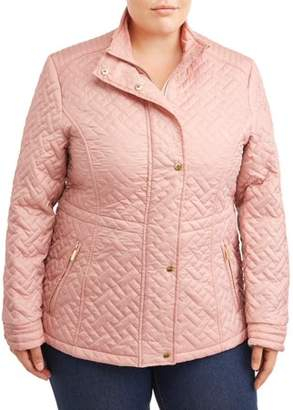 Big Chill Women's Plus Basketweave Quilted Anorak Jacket