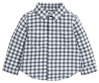 Mamas and Papas Baby-Boys Jersey Shirt Printed Check Checkered Long Sleeve Shirt,9-12 Months