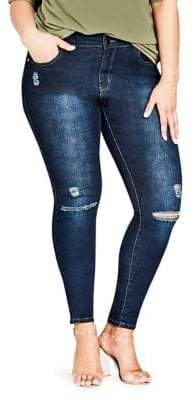 City Chic Plus Ripped Denim Jeans