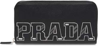Prada logo patch continental wallet