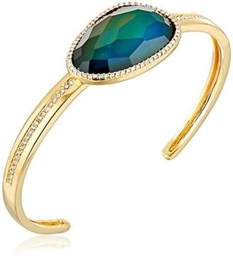 Color Changing 18k Gold Plated Bronze Czech and Created Crystal Modern Mood Cuff Bracelet