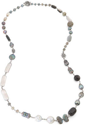 Stephen Dweck Peacock Silver Pearl & Bead Necklace