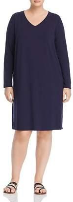 Eileen Fisher Plus Long-Sleeve V-Neck Dress