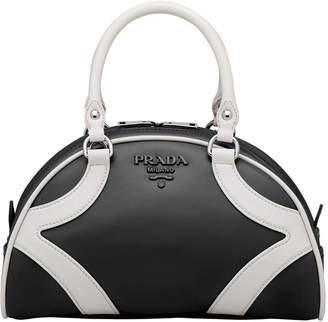Prada Two-Tone Calf Bowler Shoulder Bag