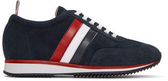 Thom Browne Navy Suede Sneakers