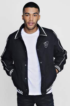 boohoo Embroidered Harrington with Piping